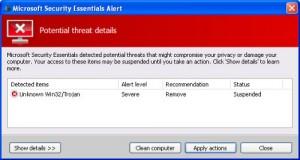 Gefälschte Microsoft Securits Essentails Meldung